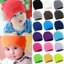Autumn Winter Solid Cotton Baby Hats Girl Boy beanies Toddler Infant Kids Caps Lovely Knit Crochet Bonnet Bone 20 Colors