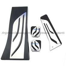 stainless steel no drill and non slip gas fuel brake footrest pedal plate pad MT for BMW X5 X6 F15 F16 F70 F71