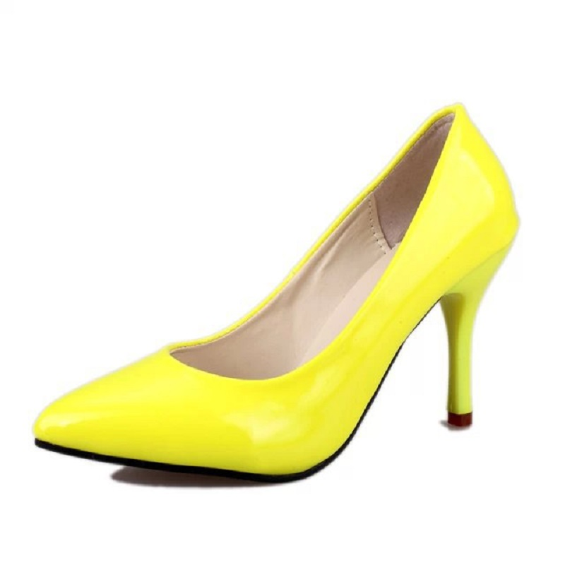 Red Bottoms OL Work High Heels Shoes Women City Sexy Concise Pumps for Women Pointed Toe Pink &amp; Yellow Stiletto Shoes D103 35<br><br>Aliexpress
