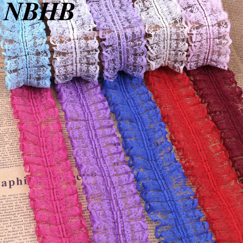 NBHB New Organza Ruffle African Lace Fabric Trim 45mm Width 5yards/lot Diy Accessory Clothing Applique Wedding Party Decoration