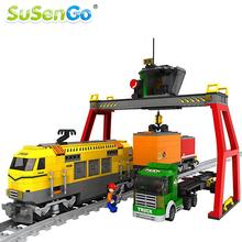 SuSenGo Building Blocks Yellow Express Train Rayway Station Bricks Model Children's Educational Toys gift Compatible with Lepin