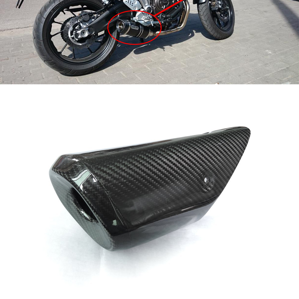 PrePreg Carbon Fiber Exhaust Muffler Pipe Heat Shield Cover for YAMAHA FZ-09 MT-09 Dry Carbon