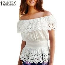 ZANZEA 2017 Summer New Women Blouse Sexy Ruffles Off Shoulder Crochet White Tops Shirts Elegant Elastic Waist Blusas Plus Size