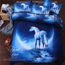 Hot Sale 3D Galaxy Blue Color White Horse Design Duvet Cover Sets For Bedroom With Pillowcase Duvet Covet Flat Sheet
