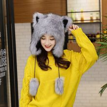 Faux Fur Hats Women Fox Modeling Hat Woman Hat Cotton Beanie Caps Winter Lace up Knitted Cap White Gray(China)
