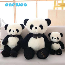 Creative Cute Bow Tie Stuffed Giant Panda Plush Doll Toy Soft Lovely Cartoon Animal Toy Children Birthday Gift Appease Dolls(China)