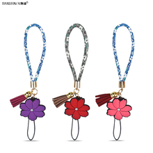 Wrist Hand Floral rope for Mobile phone Chain Straps Keychain Charm Cords Hang Rope Lariat Lanyard universal  joker 20cm