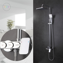"New design bathroom shower set with 8"" Ultrathin showerhead.Brass chrome wall mounted shower faucet.Bathtub Mixer Tap"