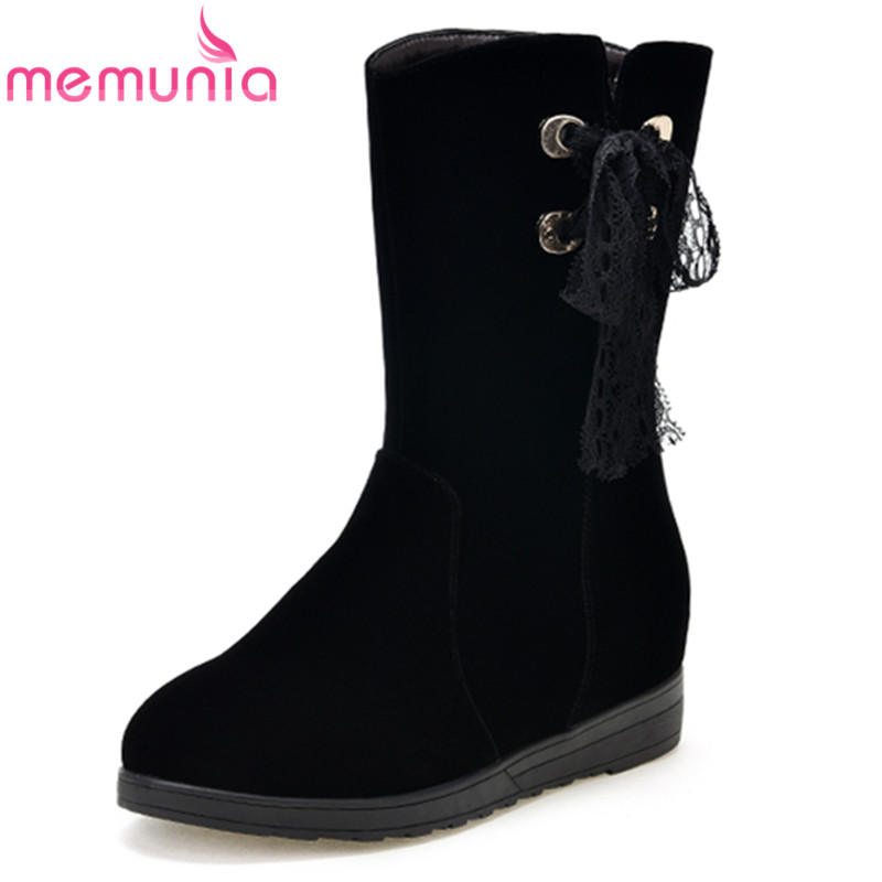 MEMUNIA fahsion cross tied women boots height increasing ankle boots flock round toe black autumn winter ladies boots<br>