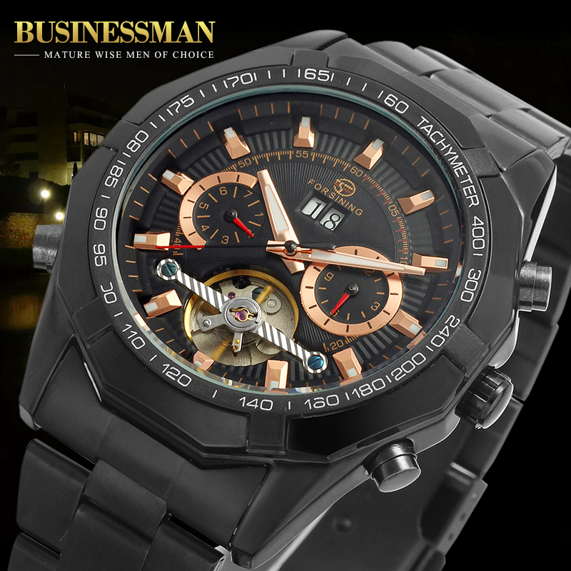 Forsining Mens Watch Fashion Automatic Stainless Steel Bracelet Tourbillon Analog Dress Wristwatch Color Black FSG340M4B1<br>