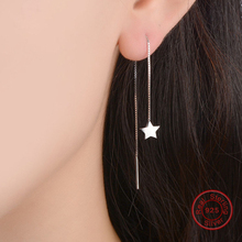 Female Star Long Earrings 100% Real 925 Sterling Silver Drop Earrings Elegant Ear Design for Women Earrings Jewelry WES168