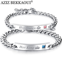 Drop Shipping Stainless Steel Her King His Queen Couple Bracelets Crytal Crown Charm Bracelets For Women Men Promise Jewelry