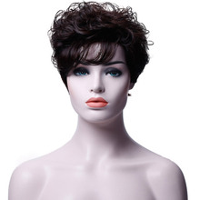 JINKAILI WIG Hot Pixie One Side Part Short Messy Kinky Curly Synthetic Hair With Bangs Capless Cap Wigs(China)