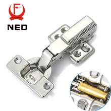 4PCS NED Furniture Hardware Three Size Hinge 304 Stainless Steel Pure Copper Hydraulic Damper Buffer Cabinet Cupboard Door Hinge(China)