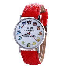 Casual Watches Owl's Schedule Pattern Watch Women Men Quartz Wrist Watches Special gifts for the lazy Guys around you(China)