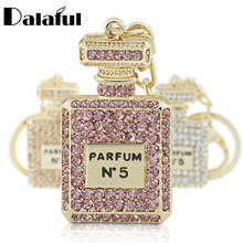 Dalaful Charm Perfume Bottle Keychain Crystal keyring Key Holder For Car HandBag Pendant Accessories Party Gift K221