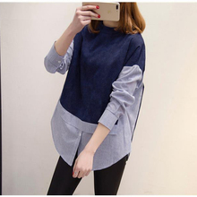 2017 New 5XL 4XL 3XL Plus size Women Tops Loose Stand Collar Long sleeve Striped Patchwork Navy Zipper Big size Shirts Blouses