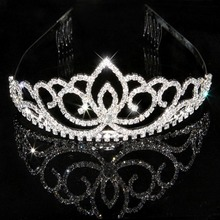 Princess Crown Headband Crystal Wedding Crown Hairband Women Headwear Hair Band Accessories(China)