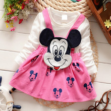 2PCS false sling new cartoon image girl long sleeved 100% pure cotton dress girl's Princess Party elegant and sweet dress(China)
