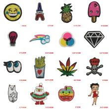 1PC Logo Fruit Letter Patch Emoji Pokemon Cheap Embroidered Cute Patches Iron On Kids Cartoon Patches For Clothes Jeans Applique