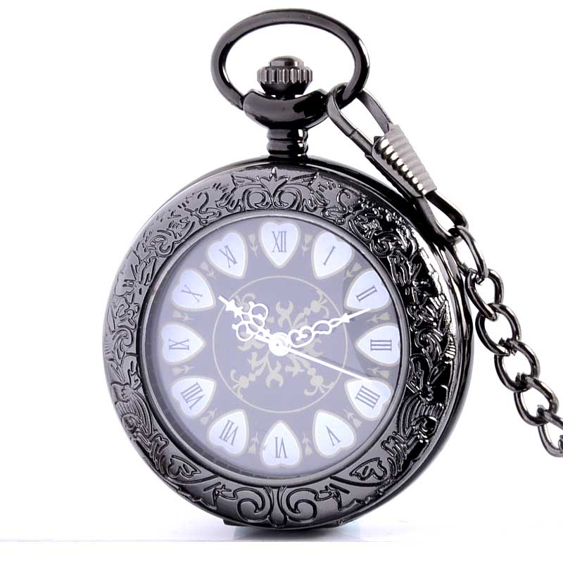 Classic Antique Black Pocket Watch With Fob Chain Mens Women Mechanical Watches Vintage Pendant Hour Clock Retro Gifts<br><br>Aliexpress