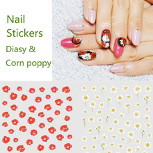 2Pcs/set Water Transfer Nail Art Stickers Spring Daisy&Corn poppy Flower Harajuku Fantacy Nail Wraps Sticker Decorations Tools