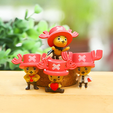 4pcs/lot 3cm Anime One Piece Tony Tony Chopper PVC Action Figure Collectible Model Toy Micro Landscape for Garden Christmas Gift(China)