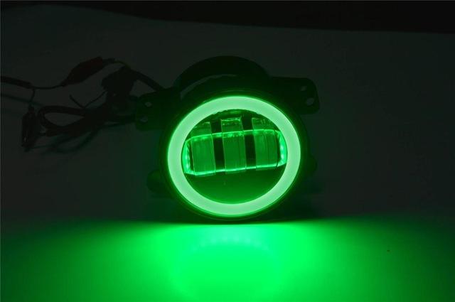FADUIES 2PCS DOT 4Inch Round Wrangler Led Fog Light 30W 6000K White Halo Ring DRL Off Road Fog Lamps For Jeep Wrangler JK TJ LJ (3)