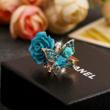 2016 New Rose Ring National Wind Butterfly Ring Retro Bohemian Alloy European and American hot jewelry fashionable ring