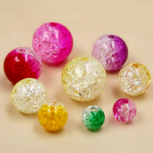 Round 16mm Two-Tone Mixed Colors Crackle Loose Spacer Acrylic Beads for  DIY Bracelet Accessory Children Handcraft Department