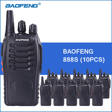 10pcs/lot Baofeng 888S Portable Walkie Talkie UHF 5W 1800mAh BF-888S Two Way Radio Communitor Handheld Ham Radio Transceiver