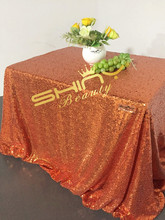 "60""x102"" Orange Sequin Tablecloth sequin tablecloth rectangle Glittery Table Cloth sequin tablecloth overlay For Wedding(China)"