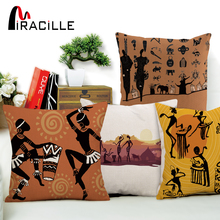 Buy Miracille Dancing Woman Ethnic Cushion Cover African Style Pillow Case Linen Cotton Color Cloth Sofa Throw Pillows for $3.35 in AliExpress store