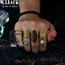 Welback 8pcs/lot rhinestone crystal vintage style rings for women Tribal Totem eye Electrical black treatment fashion jewelry(China)