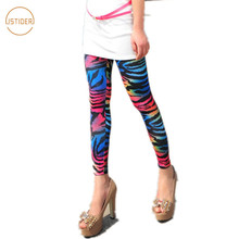 ISTider Female Silm Trouers Sexy Gradient Color Rainbow Leopard Zebra Skinny Pants Women Fashion Leggings Women Workout Clothes