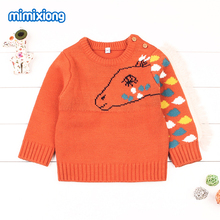 Autumn Baby Sweater Casual Long Sleeve Newborn Infant Knitwear Handmade Knitted Toddler Kid Pullover Orange Horse Crochet O Neck(China)