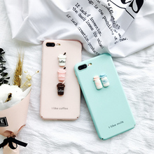 Cute 3D Milk bottle coffee cup case For iphone 6 6s 7 6plus 6splus 7Plus hard back cover protective Coque Fundas