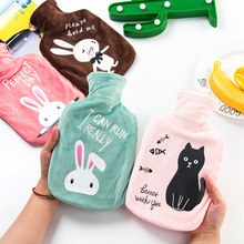 Water-filling Big Hot Water Bag Cartoon Animals Plush Pocket Portable Hand Warmer Water Injection Hot Water Bottle 17.5*29cm(China)