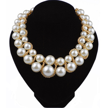Big Pearl Necklace Double Layers Pearl Jewellery Vintage Necklace Party Jewelry Accessories For Women Bohemian Exotic Necklaces