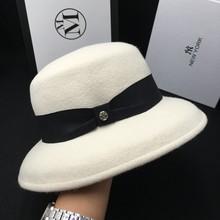 Lana blanco tapa sombrero damas sombrero de pescador temperamento cara  pequeña fieltro sombrero del cubo 1b0acb39b9d