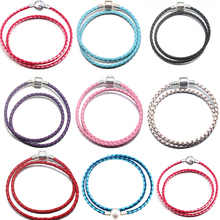 BAOPON 5Pcs/Lot 8 Color Two Circle Genuine Leather Chain Charm Bracelet Fit Fine Bracelet Gift For Women Jewelry(China)