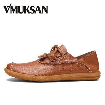 VMUKSAN hombres de Cuero Zapatos Transpirables de Primavera Zapatos Casuales Zapatos Negro hombres de la Manera