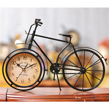 European pastoral style black bicycle table clock antique desk and shelf clock bicycle imitation crafts home decoration(China)