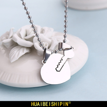 HUAIBEISHIPIN Hot Sale Korean Sweet Romance Heart and key Necklace Set For Couples 316L Stainless Steel Jewelry(China)