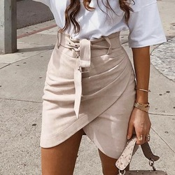 Женская замшевая асимметричная мини-юбка