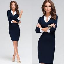 2017 Promotion Knee-length Polyester Dress New Women Dress Fashion V-neck Tights Work Wear Plus Size Collar Office Long Sleeve