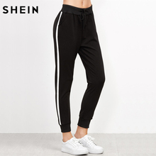 SHEIN Side Striped Drawstring Pants Black Mid Waist Casual Pants Trousers Women Autumn Black joggers Sweatpants(China)