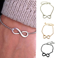 Fashion Infinity Sign Unisex Bracelet Metal Infinite Chain Bangle Eight cross bracelet bangle