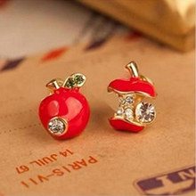 Hot sale Fashion lovely red drops of glaze asymmetric apple crystal stud earrings for women Cheap Jewelry Accessories Wholesale