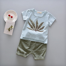 Retail Baby Boys Clothing Set Summer Printed Kids Suits T-shirt+short Pants 2pcs Suit Children Boy Casual Clothes Sport Costume